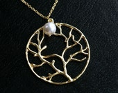 Moonlight Gold Tree of life pendant with freshwater pearl necklace