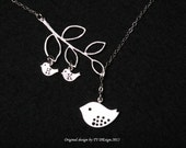 Initial Bird necklace,initial necklace,Bird on branch necklace,Mom and baby necklace,Mother Jewelry,Mother's day gift,bird family necklace