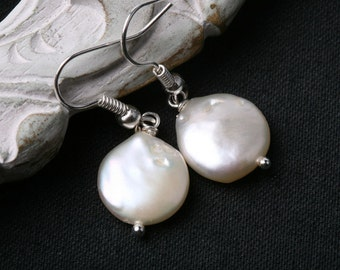 Classic High quality Freshwater Coin Pearl earrings,flat pearl earrings,Duo sterling silver earrings,bridesmaid earrings