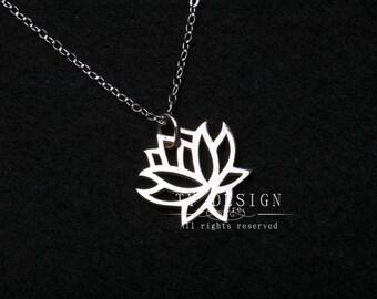 Lotus charm necklace,Sterling silver necklace,lotus flower,simply daily jewelry,Flower jewelry,Birthday,keepsake