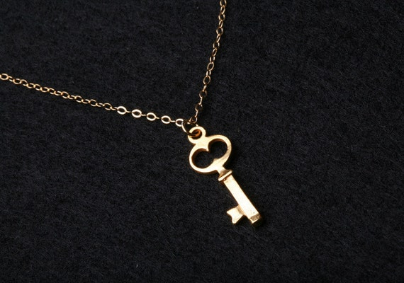 Key Necklace,Gold Filled Necklace,Everyday Jewelry,Simplistic,Tiny Key,Key to love,Anniversary,Birthday,Couple