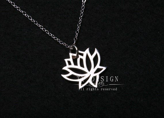 Lotus charm necklace,Sterling silver necklace,lotus flower,simply daily jewelry,Flower jewelry,Birthday,keepsake