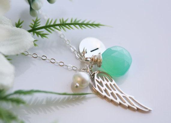 Angel wing Necklace,Initial necklace,custom birthstone,hand stamped monogram necklace,custom font,Graduation,bird wing,Wedding,Flower girl