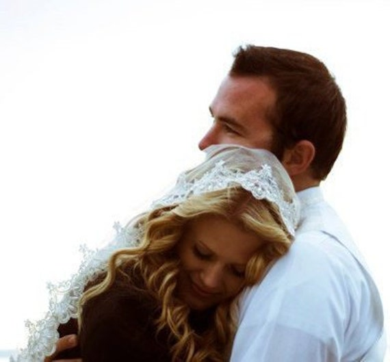 The Bride In the Wind-- Ivory Mantilla Fingertip Bridal Veil