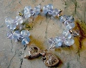 Bracelet, pale sky blue Czech gass bubble beads and crystals, silvered crystals, silver heart toggle, mother of the bride.