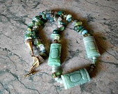 Necklace, jadite, moss agate, green and gold crystals, Asian, toggle clasp.