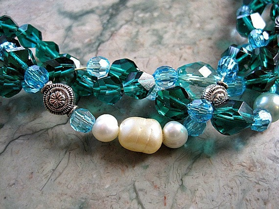 Necklace, choker, rich, aqua, teal, crystals, seed pearls, antiqued silver beads, clasp closure, braided, multi strand