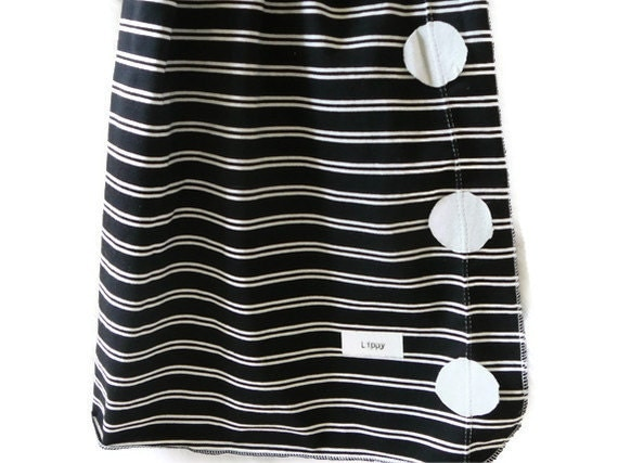 Baby boy blanket. Black and white stripes/ gray dots. Soft Stretchy Knit Material.   READY TO SHIP   (lippy brand)