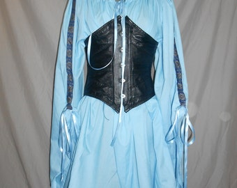 Custom made ladies Chemise medieval adjustable angle sleeve with trim pirate wench