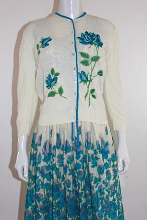 RESERVED FOR SANDRA- Vintage Rose Print Cardigan