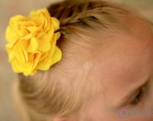 Yellow Fabric Flower Accessory - Hair Accessory, Hair Clip, Pin