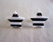 Nautical Dark Blue and White Striped Star Shaped Stud Earrings on Stainless Steel Backing