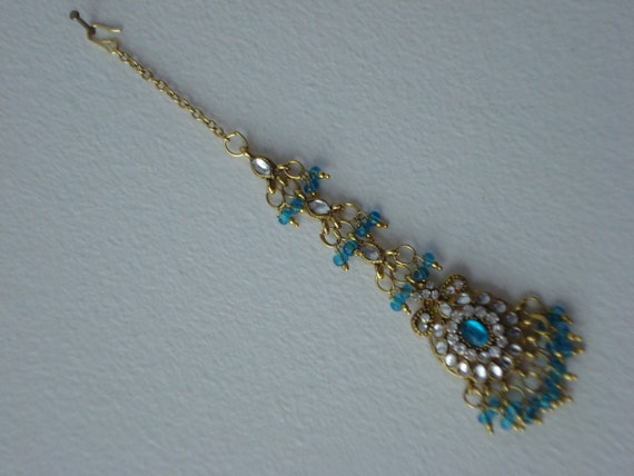 Tikka Gold tone and Aqua Blue- Bollywood