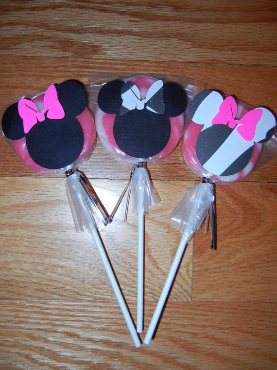 Minnie Mouse Lollipops Decorations- Set of 24 custom listing for parties by me