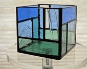 Small stained glass candle holder green/blue/clear