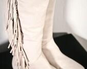 dusty grey knee high fringe boots (size 7)