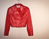 80's red cropped leather jacket