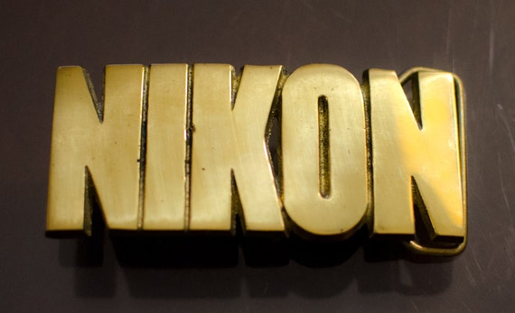 NEW Vintage Brass NIKON Belt Buckle