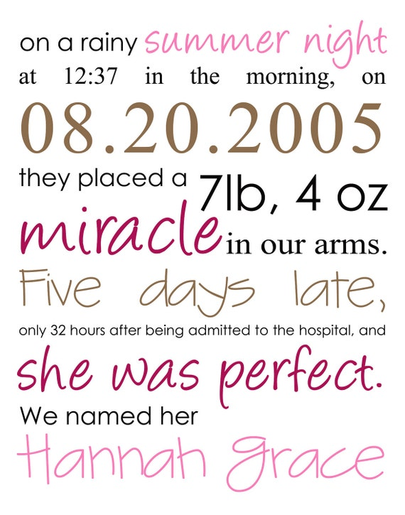 Personalized Nursery Birth Announcement Art-11x14