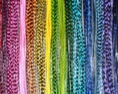 """FREE shipping 11 Solid Feathers Vivid Colorful Whiting Solid Feathers kit 8""""-12"""" Beads Threader Divine Feathers Hot Pink Aqua"""