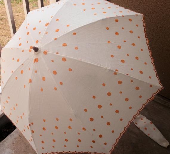 Vintage Polka-Dot Sun Umbrella , Japanese