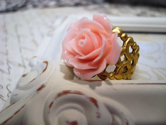 Soft Ballet Pink Rose Ring Vintage Style Shabby Chic Adjustable Ring Antique Gold Tone Solid Brass Filigree Ring Flower Ring B