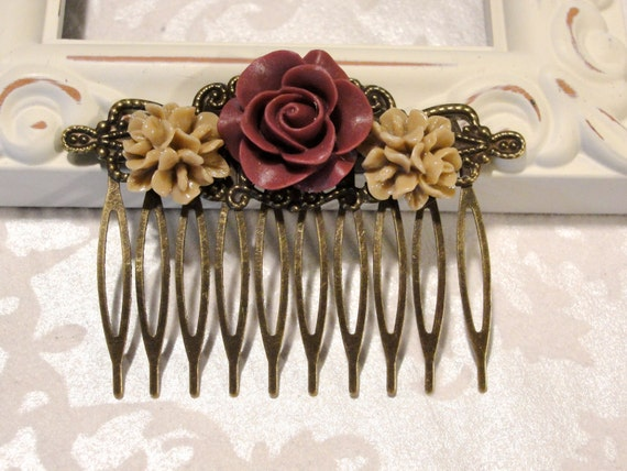 Beautiful Detailed Tan Cluster flowers with Wine Colored Rose Hair Comb Vintage Style Shabby Chic Brass Filigree Flower Antique Bronze (d)
