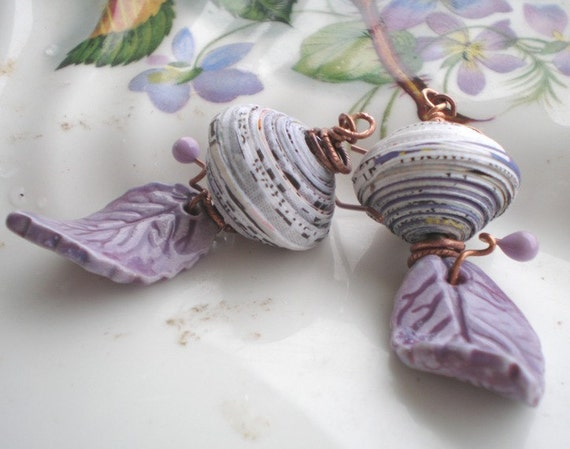 Sunday Morning Funnies- lavender dangle earrings. ceramic leaves. paper lantern beads. light purple fall leaves. Jettabugjewelry