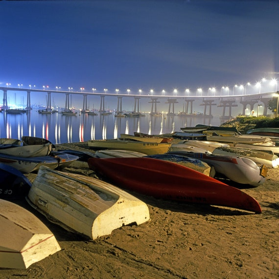 Boats and Bridge San Diego  Canvas Wall Art Color or Black and White