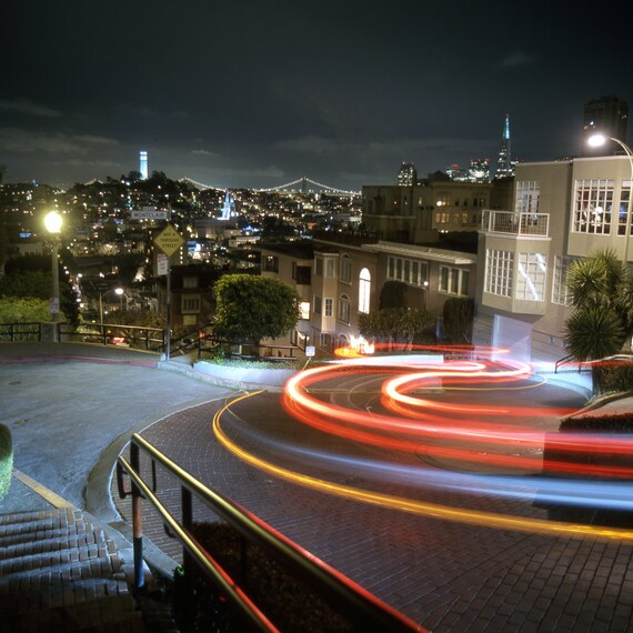 San Francisco Lombard Street At Night  Wall Art Canvas color or black and white