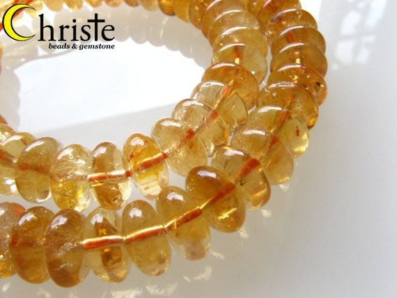 Citrine smooth button 5x10mm 1/2 strand (7 inch)