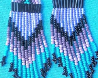 SOUTHWEST Hand-beaded earrings Lavender