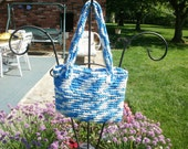 Blue and White Wave Plarn Tote CLEARANCE