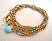SALE 10% OFF Bohemian Long Layering Necklace and Wrap Bracelet with Turquoise and Coral