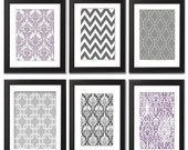 Vintage / Modern inspired Art Prints Collection (Series A) -Set of 6 - 8x11 Prints - Featured in Greys/Violet  (UNFRAMED)