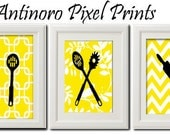Unframed Yellow Summer Kitchen Art Prints Collection  -Set of 3 - 5x7 Prints - Yellow Chevron