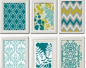 Home Decor Vintage / Modern inspired Art Prints Collection (Series A) -Set of 6 - 8x10 Prints - Featured in Turquoise Greys  (UNFRAMED)