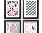 Decorative Damask Picture Wall Art Baby Nursery / Bathroom Prints Collection    -Set of 4 - 8x10 Prints -Baby Pink Grey White   (UNFRAMED)