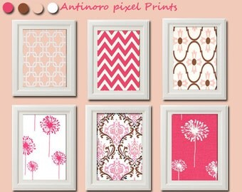 Pink Brown Baby Nusery Vintage / Modern inspired  Art Prints Collection -Set of (6) - 8x10Prints -   (UNFRAMED)