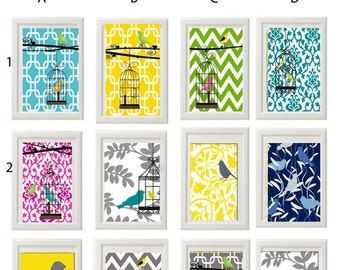 Bird Prints Vintage / Modern inspired Art Prints Collection - Pick Any Four Any color 5x7 Print - Featured in Yellow Grey White  (UNFRAMED)