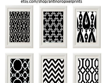 Black and White Wall Art Vintage / Modern Inspired -Set of 6 - 5x7 Prints -  (UNFRAMED)