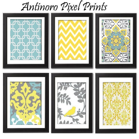 19 Collection Of Purple And Grey Wall Art: Yellow Turquoise Grey Vintage / Modern By Antinoropixelprints