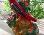 Vintage Carnival Chalkware Red Bird & Nest Figurine