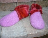 Felted Pink, Red and Brown Slippers from TØFF 9 inches long
