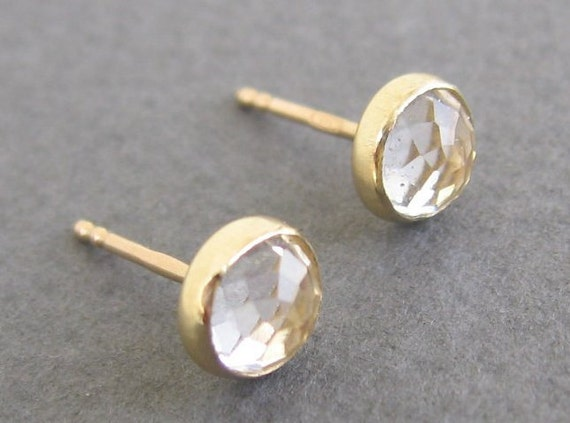 Topaz  post earrings,diamond look 14k Solid gold stud earrings  6mm.-lowest price for solid gold