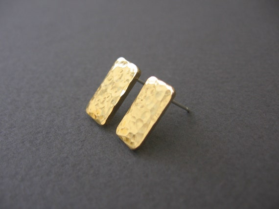 Gold  Rectangle Post Earrings- Hammered