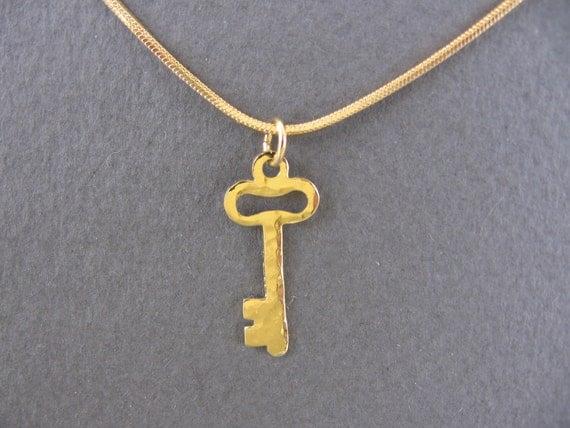 Hammered gold key necklace.gold key pendant.