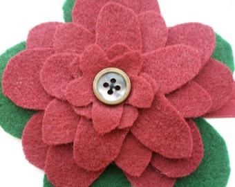 Headband - Burgundy and Green Flower