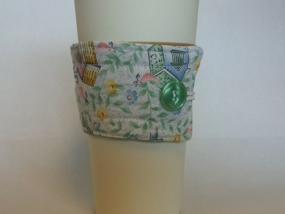 Insulated Cup Sleeve-Fabric Coffee Cup Sleeve - Reusable Beverage Cozy -Reversible