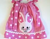 Baby Girl Easter - Pink Polka Dot Bunny Pillowcase Dress - Newborn Infant toddler 0-6mo, 6-12mo, 12-18mo, 18-24mo, 2t, 3t, 4t, 5/6, 7/8